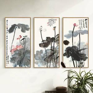 Image 1 - Китайская живопись чернилами Печать холст Чжан дацянь художественные работы цветок лотоса Плакаты HD печать Настенная картина для гостиной украшения