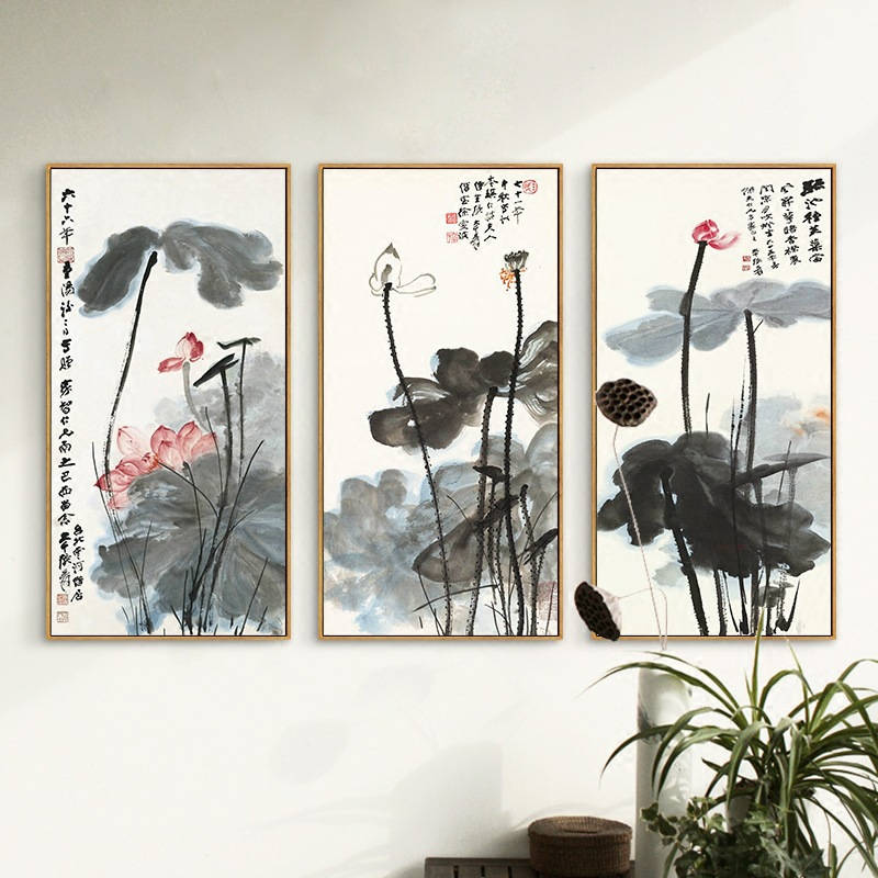 Chinese Ink Painting Print Canvas Zhang Daqian Artwork Lotus Flower Posters HD Print Wall Art Picture for Living Room Decoration-in Painting & Calligraphy from Home & Garden