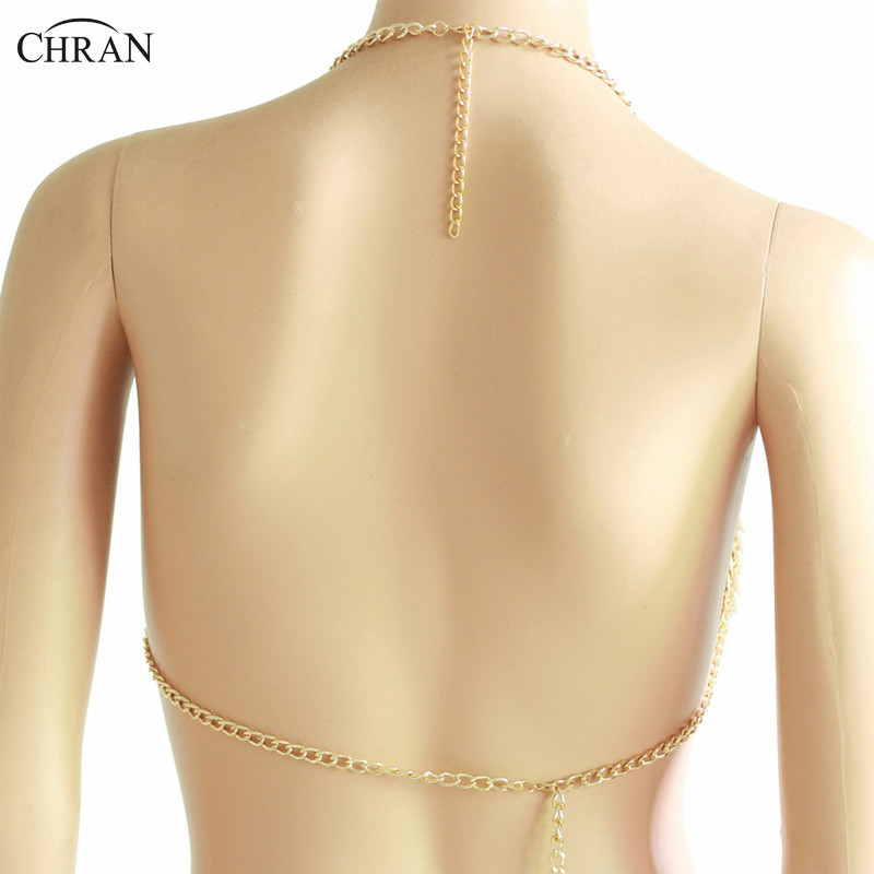 Chran Scale Metal Chain Halter Bra Sexy Carnival Festival Costume Body Chain Rave Outfit in Body Jewelry from Jewelry Accessories