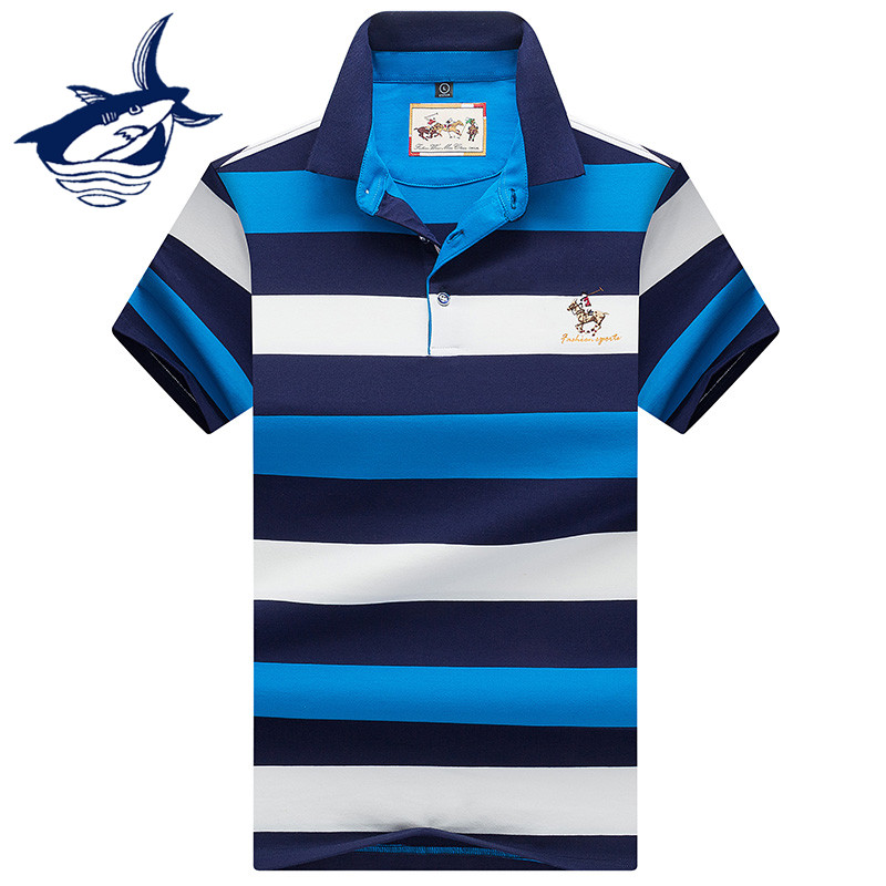 2019 New Fashion & Casual   polo   shirt men short sleeve us   polo   shirt homme business striped   polo   shirts Tace & Shark brand shirts