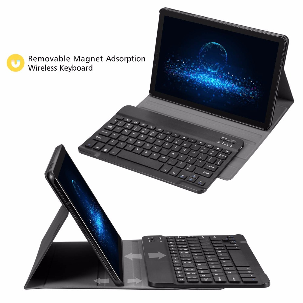 Slim Folio PU Leather Stand Cover with Removable Wireless Keyboard Case for Samsung Galaxy Tab S4 10.5 Model SM-T830/T835/T837 detachable official removable original metal keyboard station stand case cover
