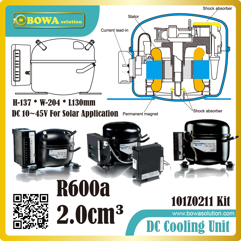Direct Current 10-45V Compressor R600a for Solar application such as solar refrigerator solar bottle cooler and solar freezers