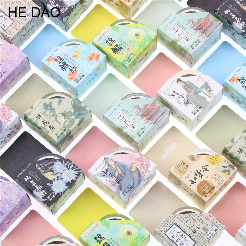 Retro Chinese Tyle Poetic Flavour Decorative Washi Tape Diy Scrapbooking Masking Tape School Office Supply Escolar Papelaria 0 8cm 8m the seventh season slim decorative washi tape scotch diy scrapbooking masking craft tape school office supply