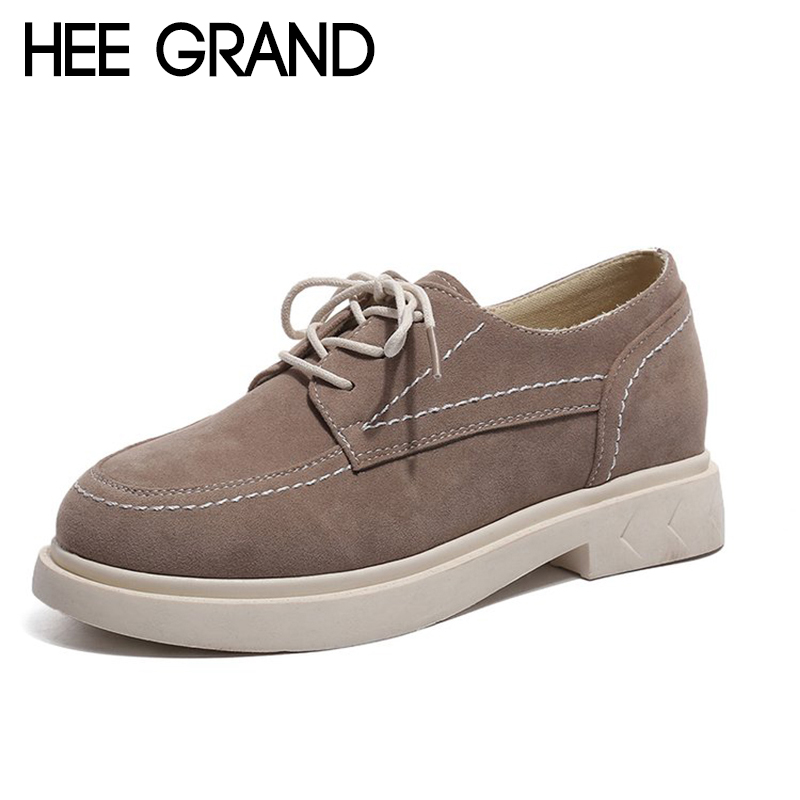 HEE GRAND Women Spring Flats 2018 New Arrival Women Causal Fashion Lace-up Shoes with Flock Vamp and PU Leather Shoes XWD6576