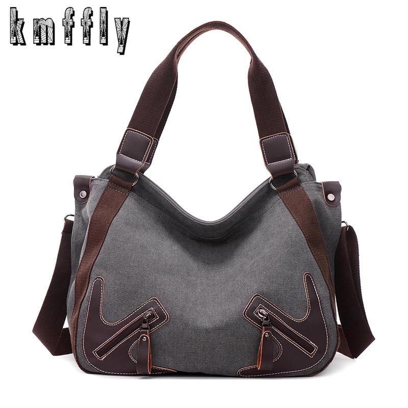 KMFFLY Canvas Handbags Crossbody-Bags Ladies Tote Designer High-Quality Casual Women