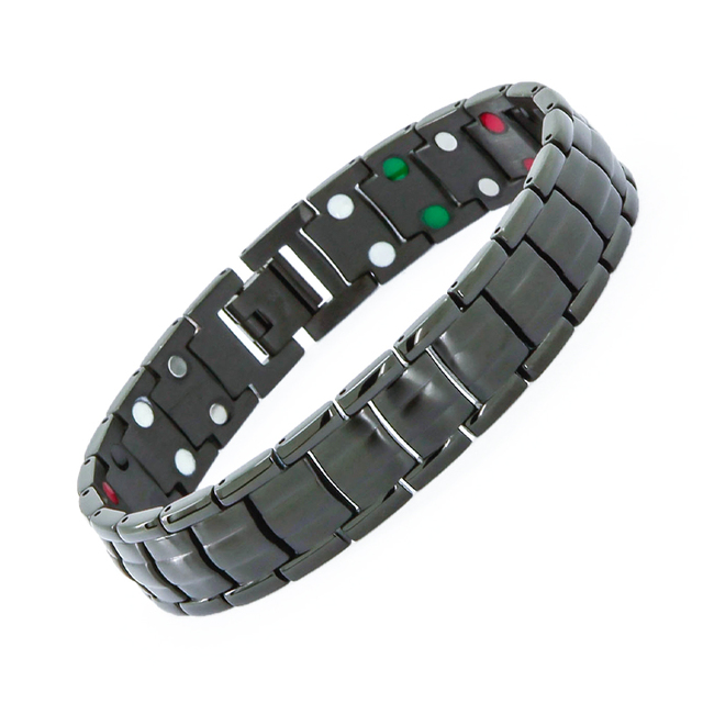 38 Brand High Quality Men 's Health Jewelry  Germanium Magnetic Tourmaline 5 In1 Stainless Steel Anti Fatigue Bracelets Bangles