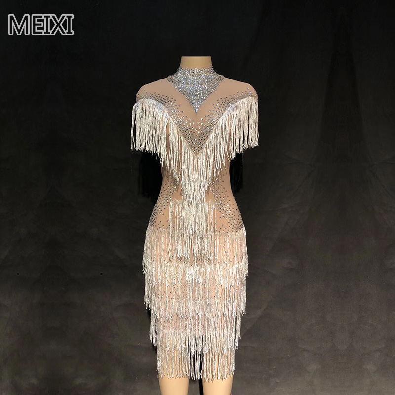 Silver and white tassel rhinestone short dress wedding dress bar birthday party concert singer dancer costumes