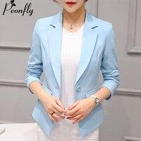 PEONFLY Yeni Bayanlar Blazer 2017 Uzun Kollu Blaser Kadın Takım Elbise ceket Kadın Kadınsı Blazer Femme Pembe Mavi Beyaz Blazer