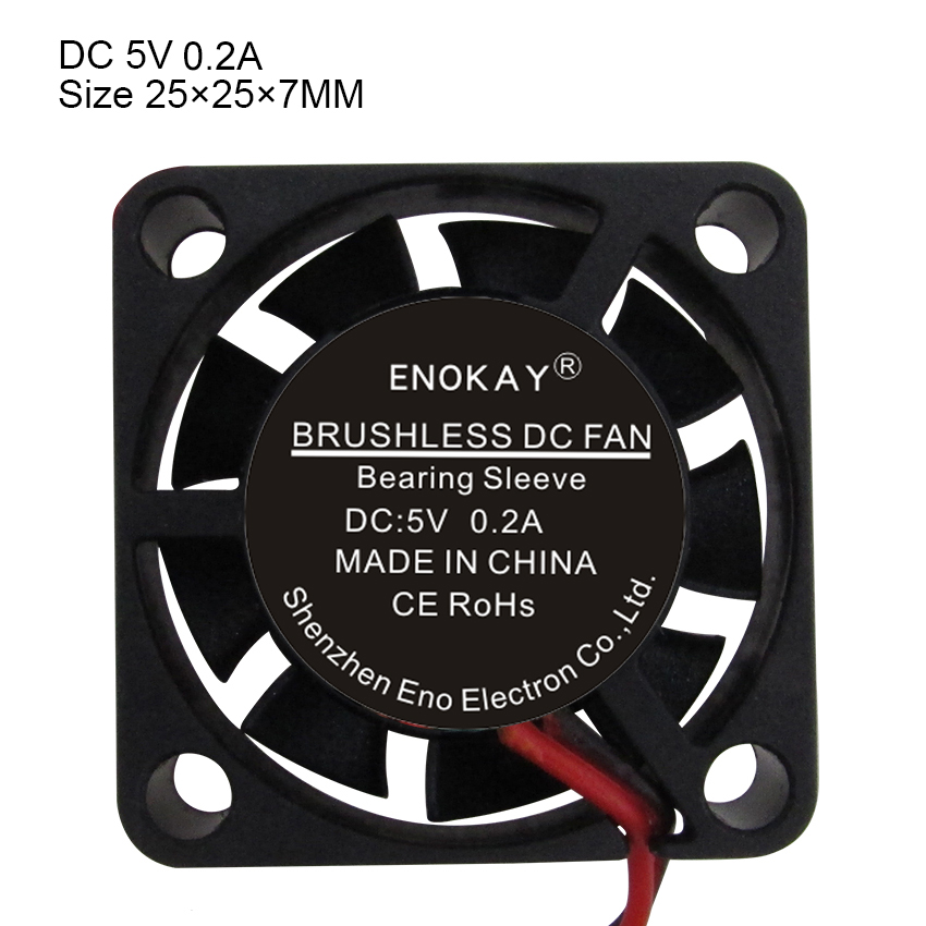 Wholesale 2 Pieces New Computer Case Water Cooler Computer Enokay 5V 2Pin 25mm DC <font><b>Fan</b></font> <font><b>25x25x7mm</b></font> 2507 Small Brushless Motor <font><b>Fan</b></font> image