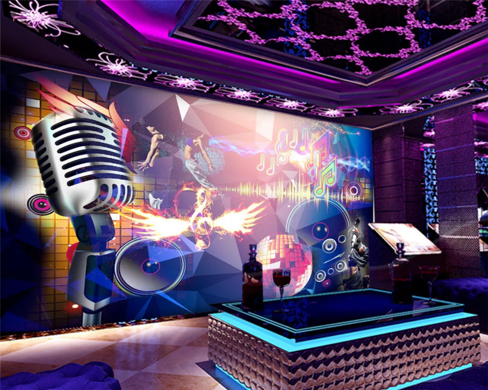 Beibehang Custom Fashion Eco-friendly Wallpaper Bar Ktv Music Symbol Trend Cool Bar Decoration Background Wall Papers Home Decor