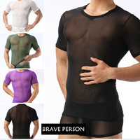 Gay Men Sexy Casual Shirt Fishnet Men Sexy Fitness Transparent T Shirts Gay Funny Mesh Cut