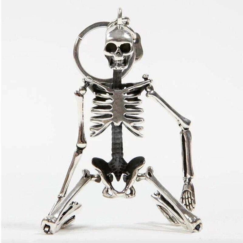 Pliable Squelette Pendentif Porte-clés Pour Hommes Femmes Antique Argent Couleur Métal Alliage Crâne Sac Charme Porte-clés De Voiture Trousseau porte-clés