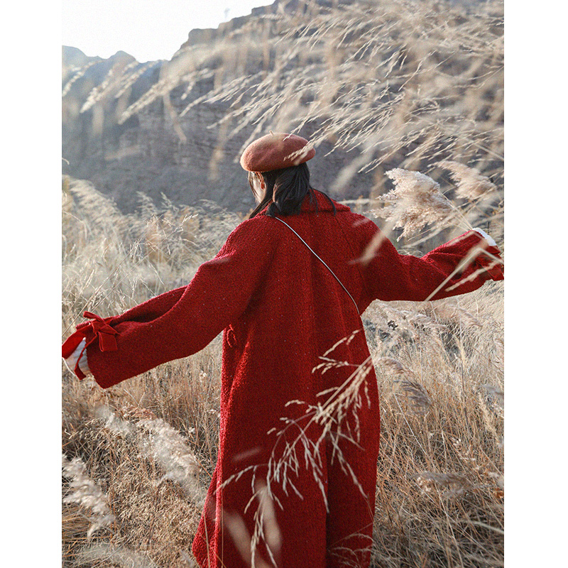 Jessica store s store outono inverno feminino doce senhora bonito lanterna manga casual solto lantejoulas grosso quente vermelho longo casaco de lã - 4