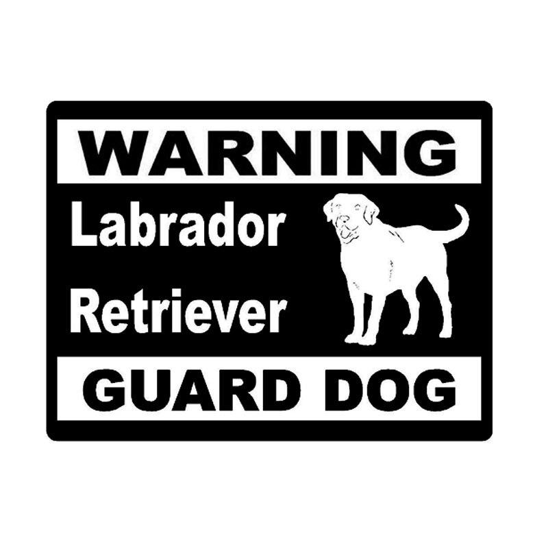 13cm*9.8cm Personality Style Labrador Retriever Warning Guard Dog Car Tail Vinyl Car Stickers C5-1902 the guard dog