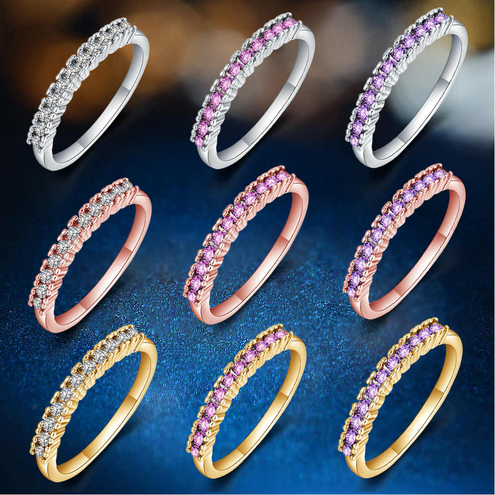 Single Row Zircon Couple Ring 925 Sterling Silver Rings For Women Jewelry Anel Feminino Anillos Aneis Bague Femme Jewellery Gift