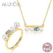 ALLNOEL 2019 New 925 Sterling Silver Jewelry Set Natural Sky Blue Topaz Real Pearls Necklace Rings For Women Wedding Jewelries