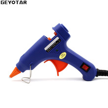 20W EU Plug Hot Melt Glue Gun with Free 1pc 7mm Glue Stick Industrial Mini Guns Thermo Electric Gluegun Heat Temperature Tool