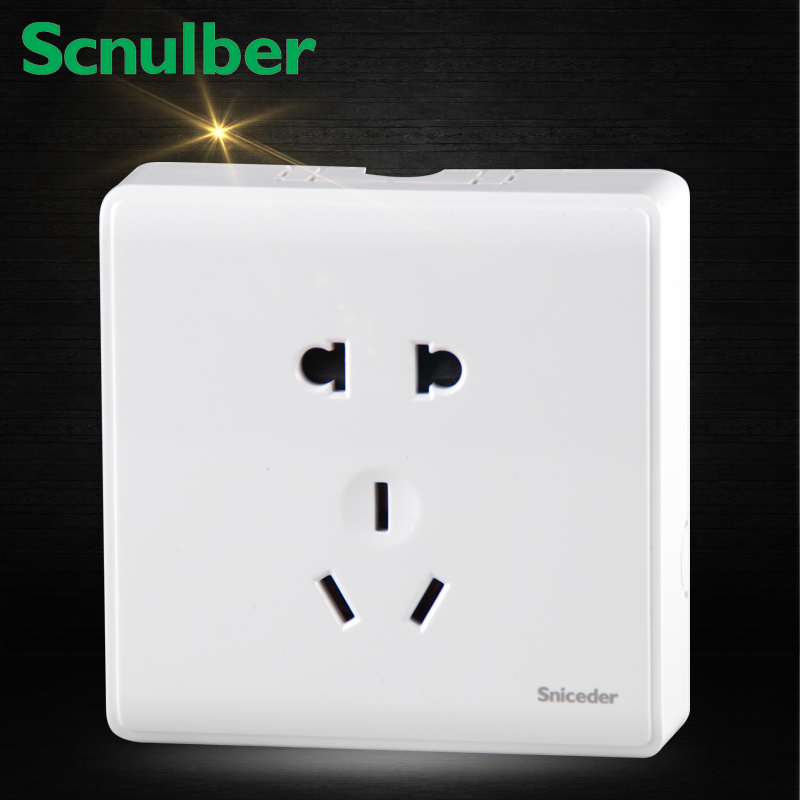 white surface type household 10A 5 poles 2p and 3p earth contact outlet wall socket usb3 0 round type panel mounting usb connecter silver surface