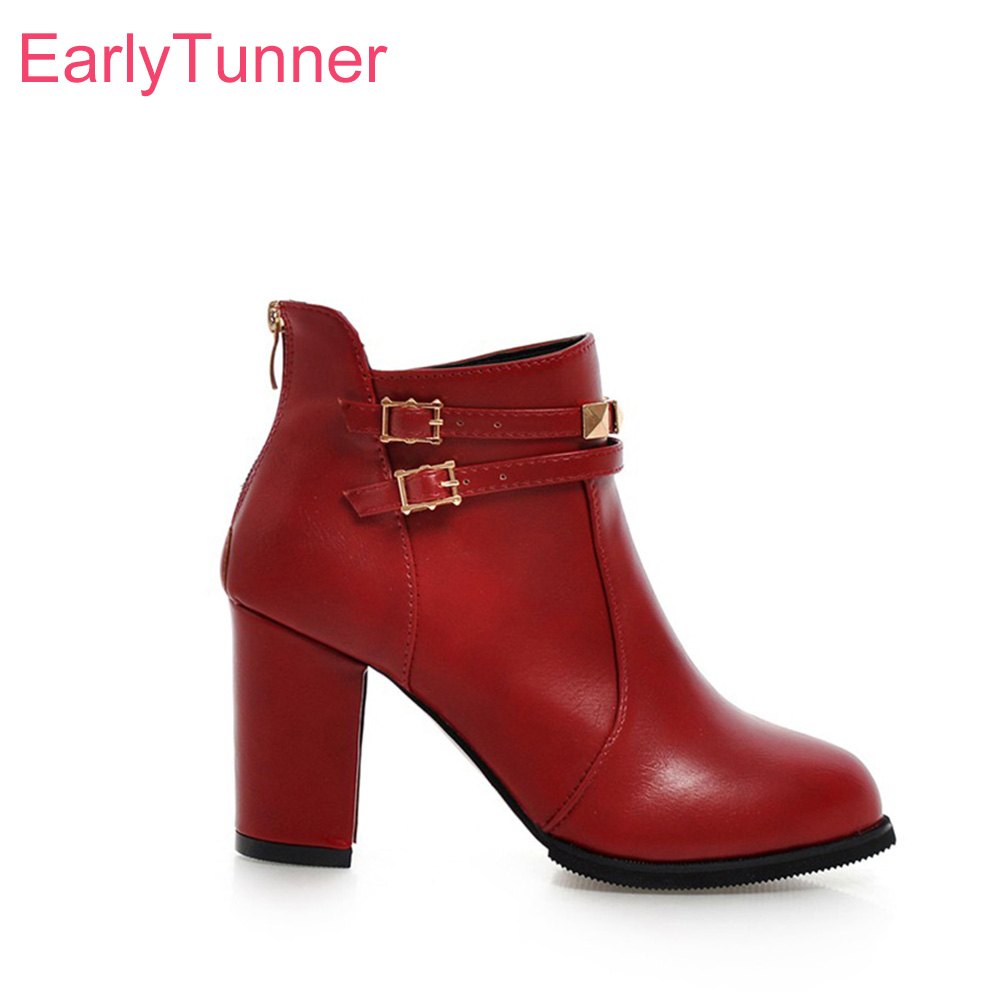 Sale Brand New Fashion Red Black Women Ankle Boots  Anti Slip Sole High Heels Lady Riding Shoes EH718 Plus Big Size 10 30 45 50Sale Brand New Fashion Red Black Women Ankle Boots  Anti Slip Sole High Heels Lady Riding Shoes EH718 Plus Big Size 10 30 45 50