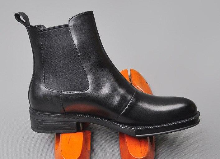 Hommes cuir de vachette Martin bottes printemps automne confortable noir Simple mode élastique bottines hommes angleterre Style haut - 2