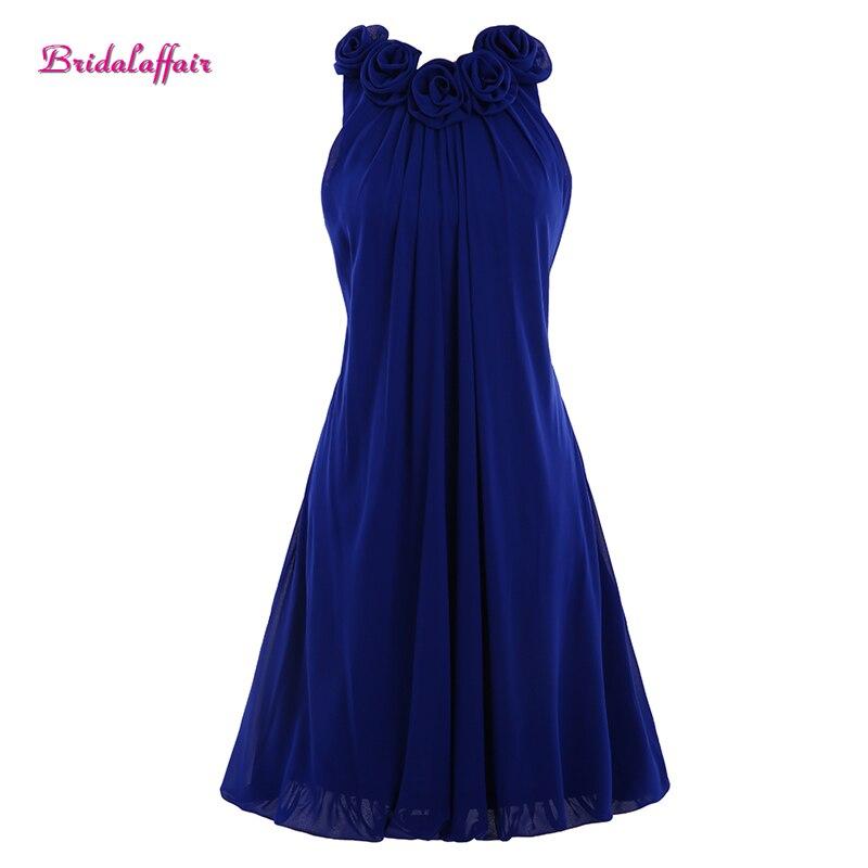 Bestidos de gala a-ligne chérie courte robes de bal courte soirée élégante genou longueur fleur bleu Royal robe de soirée