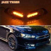 JAZZ TIGER 2PCS Yellow Turn Signal Function Car Driving Lamp DRL LED Daytime Running Light For Mitsubishi Lancer 2010 2011 2012