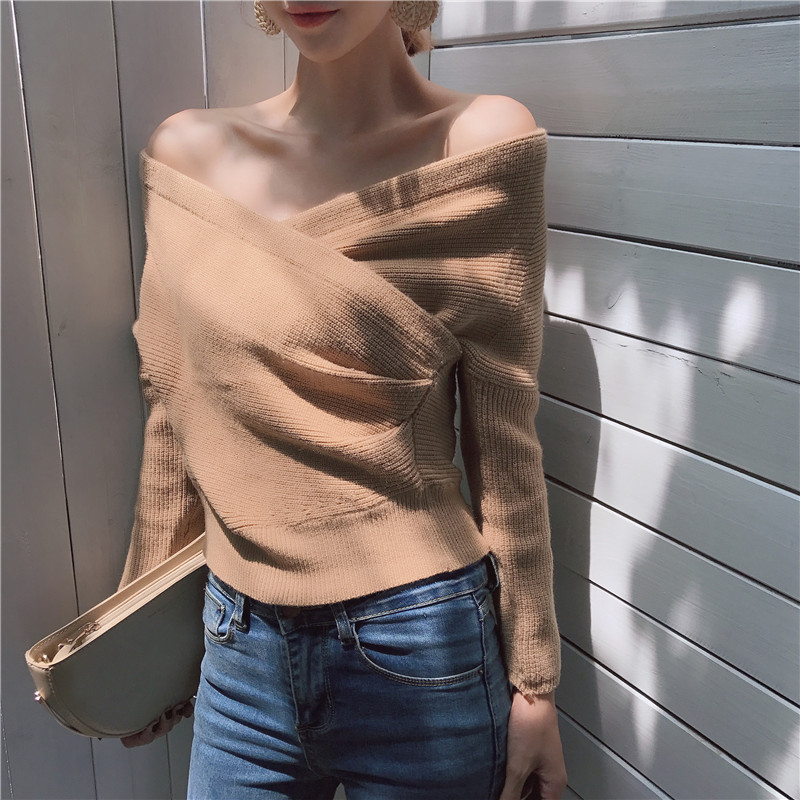 Rugod 2018 Autumn Sexy Off soulder Long Sleeve Pullover Women Casual Criss cross Knitting Sweater Women