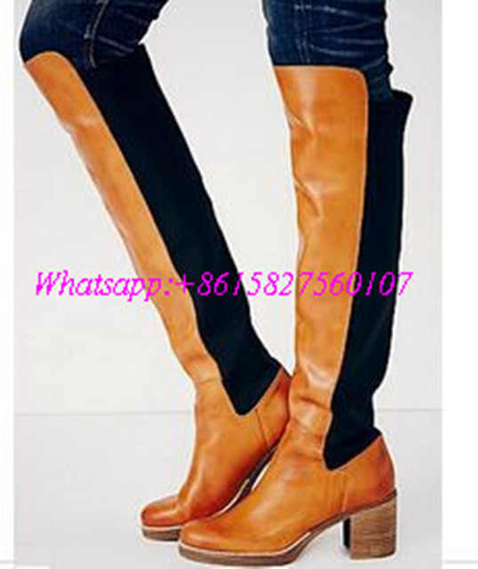 Hot Sale 2017 New Fashion Autumn And Winter Knee Boots Women Simple Solid Big Yards Long Boots Comfort Square Heel Shoes Woman