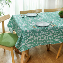 Green Print Tablecloth Waterproof Dining Table Cover Dustproof Rectangular Thicken Washable Cotton Obrus Table Cloth Tafelkleed