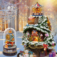 1Pcs Rotating Music Dollhouse Decoration model DIY Doll House with transparent cover Lighting Music for Christmas Decoration