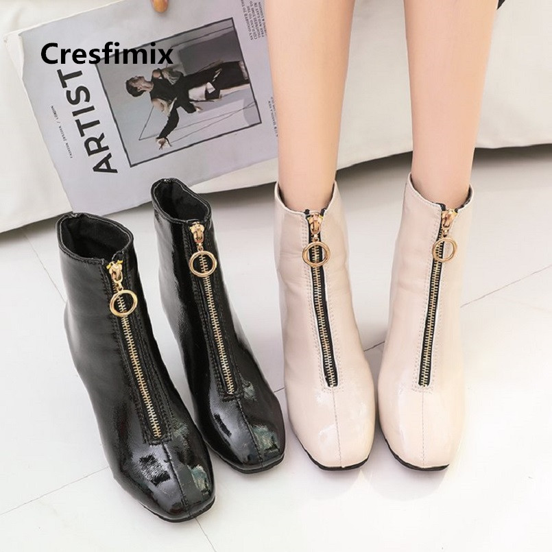 Fraîches Talon Noir Haut Casual Femmes Chaussures Zipper En Pu Confortable Lady Bottes Avant A A3030 Mignon b Cresfimix Cuir Beige W6wFqRw