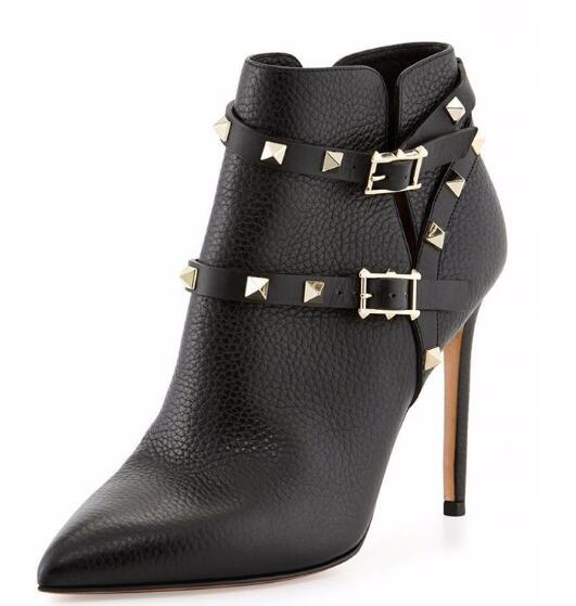 Autumn and winter woman black rivets ankle boots Ladies spring pointed toe super high thin heel short boots Martin boots women suede pointed toe high heel ankle boots spring and autumn super high thin heel short boots black red rose red short boots