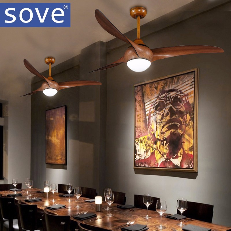 52 Inch LED Brown DC 30w Village Ceiling Fans With Lights Minimalist Dining  Room Living Room Ceiling Fan With Remote Control In Ceiling Fans From  Lights ...