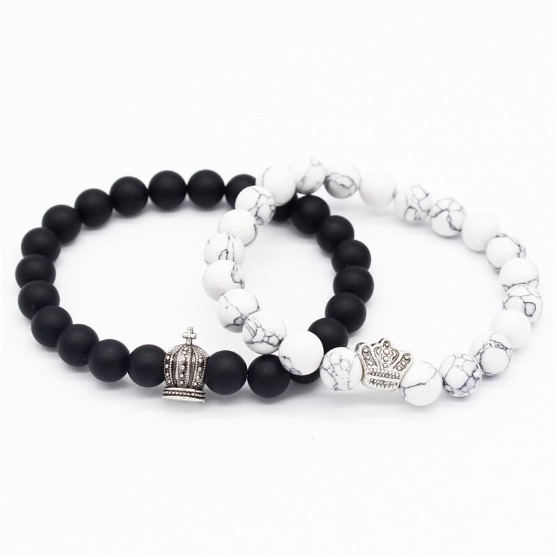 Poshfeel King & Queen Crown Bracelets For Lovers 8mm Black/white Stone Beads Couple Bracelets & Bangles MBR180110