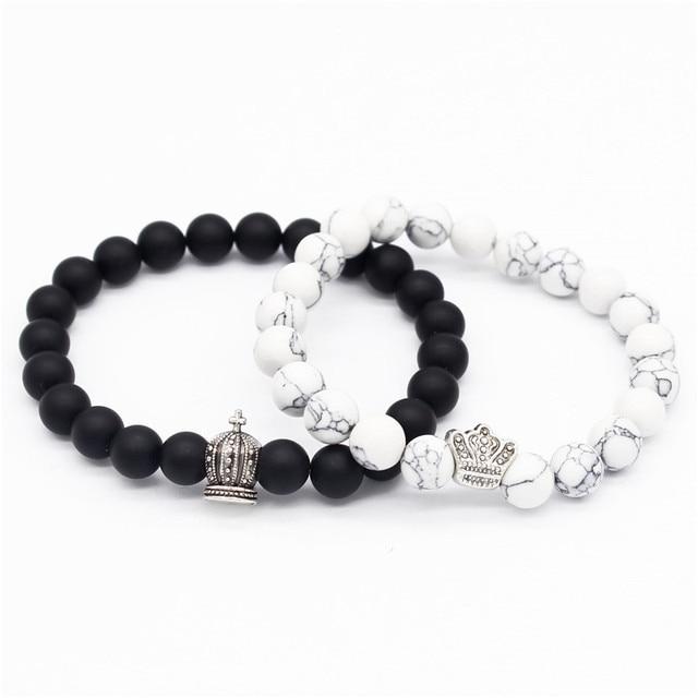 48b88bc1c8 Poshfeel King & Queen Crown Bracelets for Lovers 8mm Black/white Stone Beads  Couple Bracelets & Bangles MBR180110