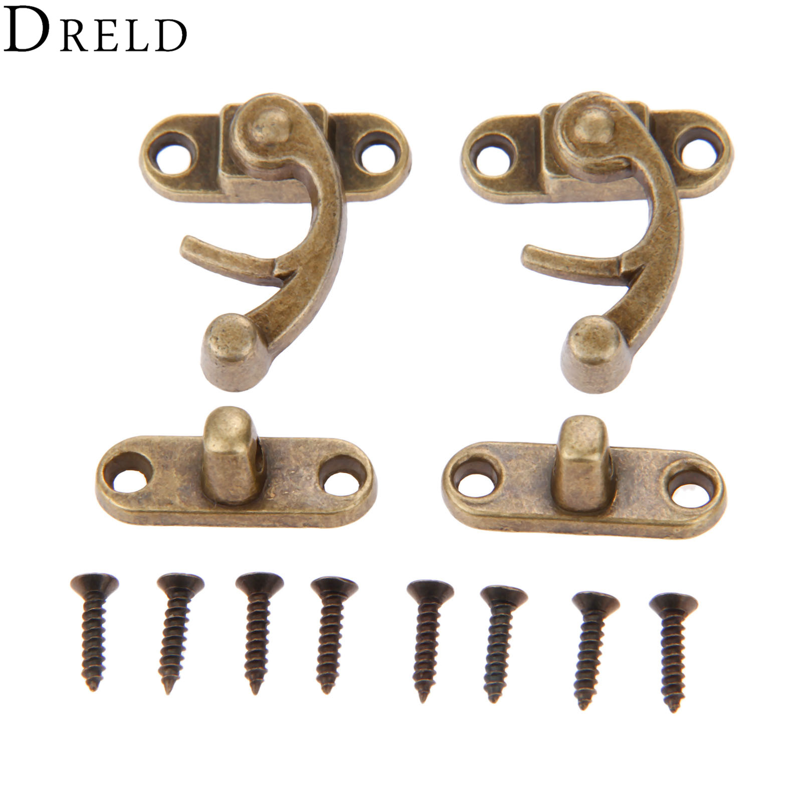 DRELD 2Pc Antique Decorative Furniture Hardware Box Hasps Leather Craft Bag Jewelry Gift Wine Wooden Box Hasp Latch Hook 29*33MMDRELD 2Pc Antique Decorative Furniture Hardware Box Hasps Leather Craft Bag Jewelry Gift Wine Wooden Box Hasp Latch Hook 29*33MM