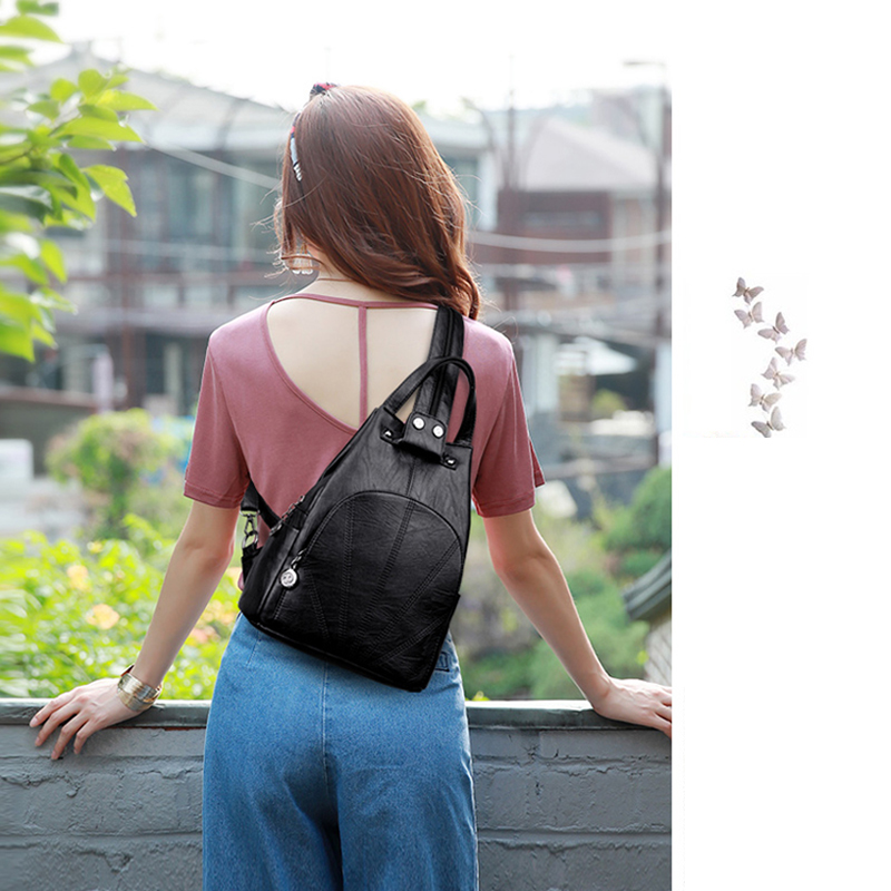 2019 Women Leather Backpacks Anti-theft Back Pack Sac a Dos Female Vintage Backpack Travel Bagpack School Bags For Girls New