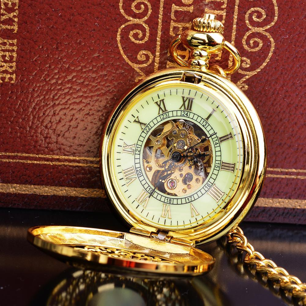 Vintage Steampunk Skeleton Mechanical Fob Pocket Watch Golden Hollow Mens Womens Pendant Hand-Winding Clock Gift Drop Shipping