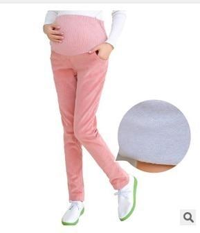 New Women Pink Grey Winter velvet corduroy pant for pregnant women maternity plus size pregnancy pants ladies leggins clothes