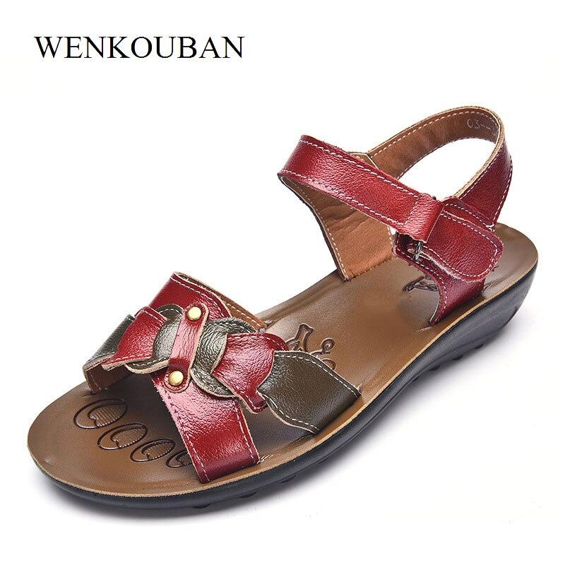 Designer Women Genuine Leather Sandals Summer Flat Shoes Hook-Loop Casual Ladies Beach Slippers Chaussure Femme Size 35-43