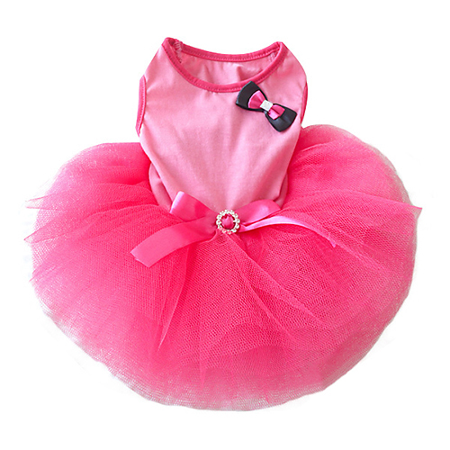 NEW New Cute Tutu Bow Crystal Belt Small Puppy Pet Dog Cat Clothes Mini Dress Pink XS S M L Wholesale BI4G