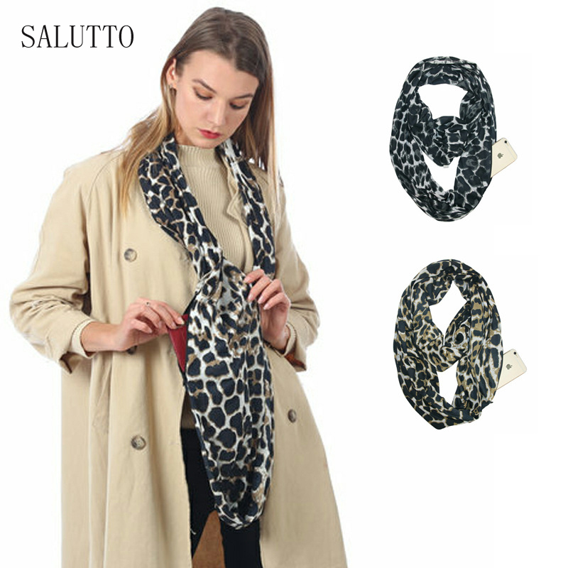 2019 New Convertible infinity scarf with pocket loop scarf Fashion lady solid scarf Zipper Pocket travel Infinity Scarf in Women 39 s Scarves from Apparel Accessories