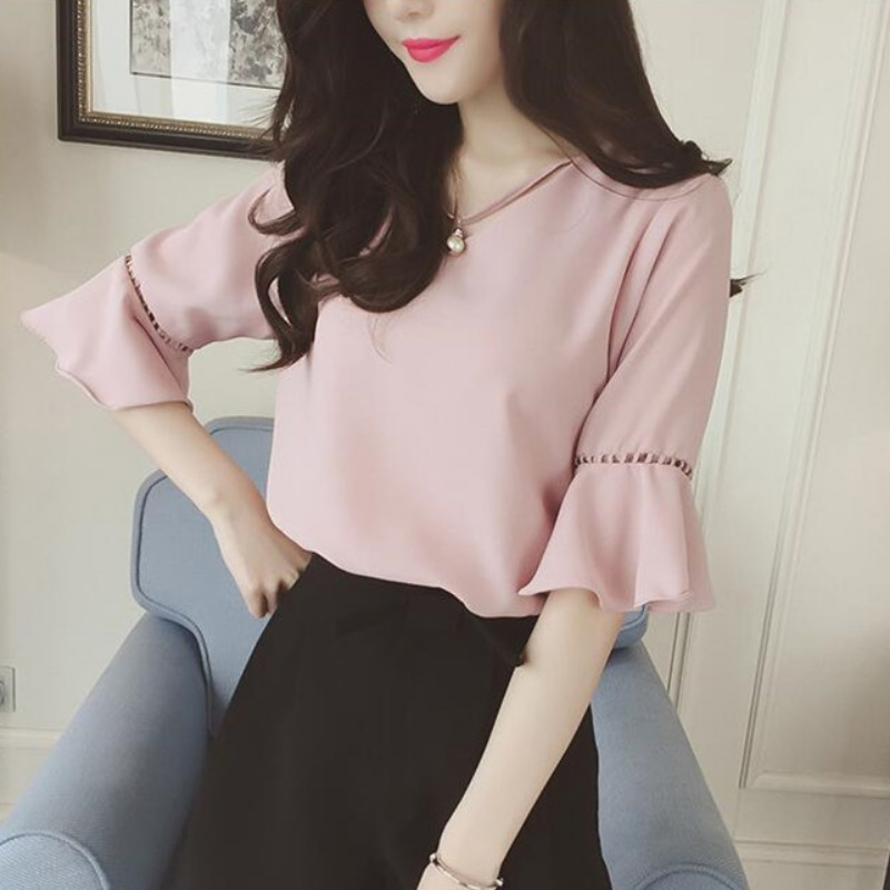 Summer Flare Sleeve Chiffon Blouse Shirt Women Tops Work Wear Office Blusa Feminina Shirts Hollow Out Blouses