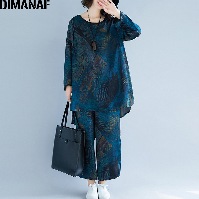 DIMANAF Plus Size Women Sets Clothing Spring Female Lady Tops Tees Shirt Long Pants Loose Casual Print Vintage 2 Pieces Set 2019