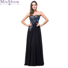 Navy blue Evening Dresses 2019 Long prom gown Peacock pattern Vestido da  festa fashionable Evening Gowns 45f6dee38043