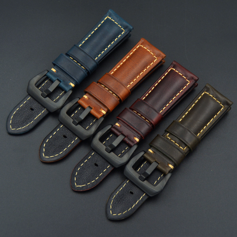 20 22mm 24mm 26mm Black blue brown luxury Genuine Leather Watch Strap Band for Mechanical watch Watchband Strap for Panerai PAM new matte red gray blue leather watchband 22mm 24mm 26mm retro strap handmade men s watch straps for panerai