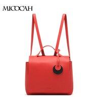 MICOCAH Brand Fashion Women Backpacks Big Solid Color Women Bags 2 Pieces PU Leather Women Handbags