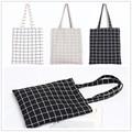 YILE Lining Cotton Linen Shoulder Bag ECO Shopping Tote Check Plaid Black Grey White PP09