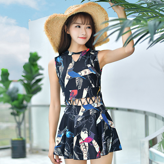 Strapless One Piece Swimsuit Printed Modest Swimming Dress 2018