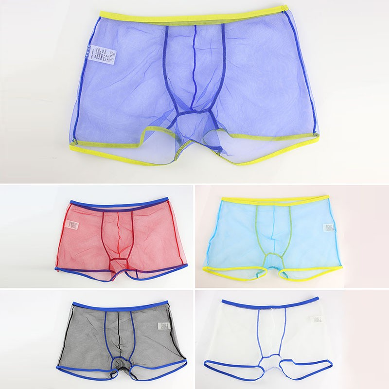 US Shipping Breathable Transparent Spandex Solid Boxer Sexy Mesh See Through Men Boxers Shorts Underwear Panties bokserki
